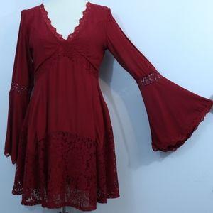 Miami Wine Red Lace Gypsy Bohemian Dress